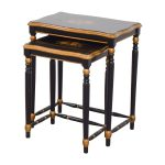 Off Oriental Accent Nesting Tables Painted Flower