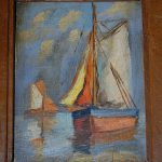 Oil Painting Wood Sailing Boats Wooden Frame Europeantiqueshop Ruby