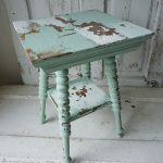 Ornate Accent Side Table Hand Painted Green White