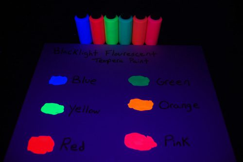 Pack Assorted Blacklight Reactive Fluorescent Tempera Paint