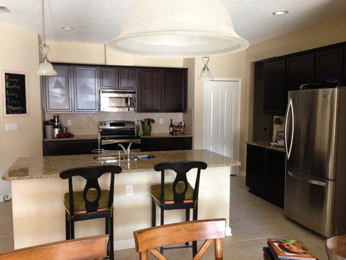 Paint Color Kitchen Espresso Cabinets Neutral Granite Lite Tile