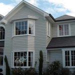 Paint Exterior House Dark Cream Wall White Windows Frame Home