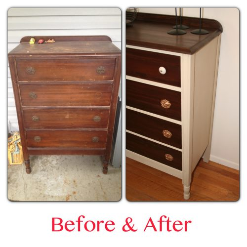 Painted Chest Antique Highboy Dresser Before