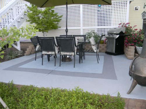 Painted Concrete Patio Garden