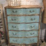 Painted Cottage Chic Shabby Aqua French Dresser Vintage