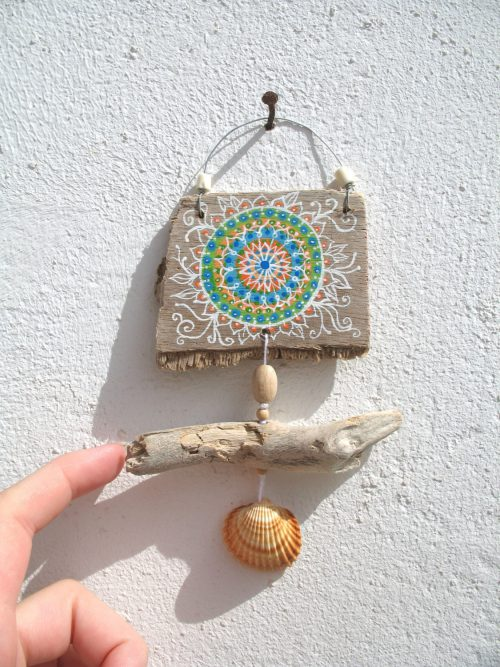 Painted Driftwood Mini Wall Hanging Mobile Boho