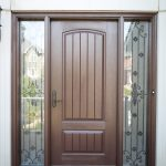 Painted Finish Single Fiberglass Door Traditional Wrought Iron Sidelites Lusso