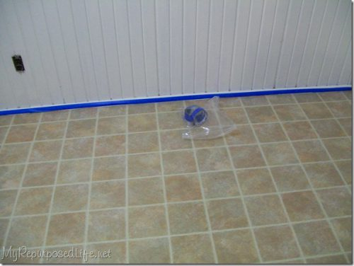 Painted Vinyl Floor Repurposed