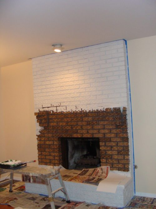 Painted White Brick Fireplace Design