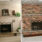 Painting Brick Fireplace Before After Design