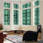 Painting Green Bamboo Frosted Static Cling Decorative Privacy Removable