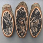 Paintings Animals Wood Slices Fubiz