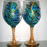 Peacock Feathers Hand Painted Wine Glass