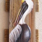 Pelican Hand Painted Reclaimed Fence Boards