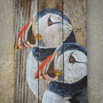 Puffins Hand Painted Repurposed