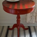 Red Chevron Painted Round Side Table Revived