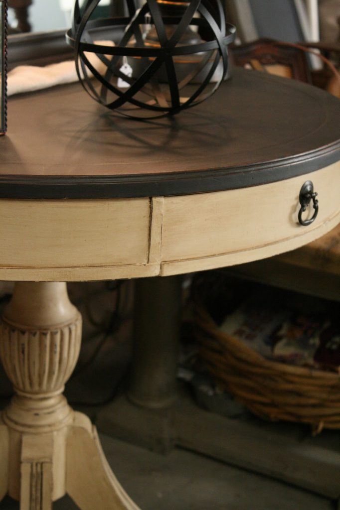 Reloved Rubbish Leather Topped Table Chalk Paint