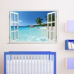 Removable Beach Window Scenery Wall Sticker Can
