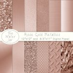 Rose Gold Digital Paper Pack Metallic
