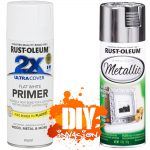 Rust Oleum Reflective Metallic Silver Bright Leafing Spray Paint White Primer
