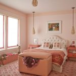 Salmon Pink Wall Paint Color Nice Bedroom Ideas White Tufted Curvy Bed