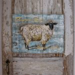 Sheep Original Acrylic Painting Reclaimed Rustic Solid