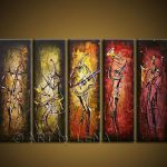 Shipping Hand Painted Wall Art Abstract Music Oil Painting Canvas Pcs Set Wood