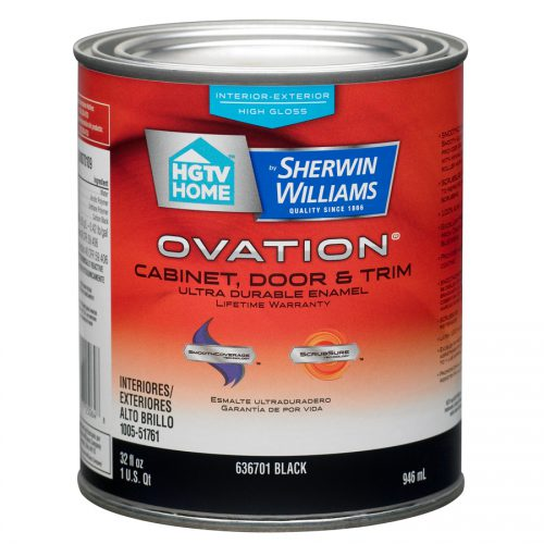 Shop Hgtv Home Sherwin Williams Ovation Black High Gloss Latex Interior Exterior