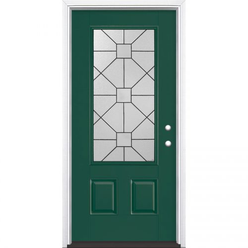 Shop Masonite Hancock Decorative Glass Left Hand Inswing Evergreen Painted Fiberglass