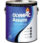 Shop Olympic Assure Black Flat Latex Interior Paint Primer One Actual