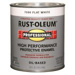 Shop Rust Oleum Professional White Flat Oil Based Enamel Interior Exterior Paint