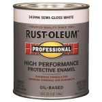 Shop Rust Oleum Professional White Semi Gloss Oil Based Enamel Interior Exterior Paint