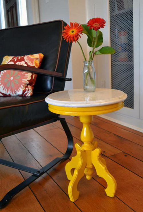 Small Painted Yellow Marble Top Round Side Table