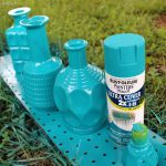 Spray Paint Glass Bottles Decanters Then Dry