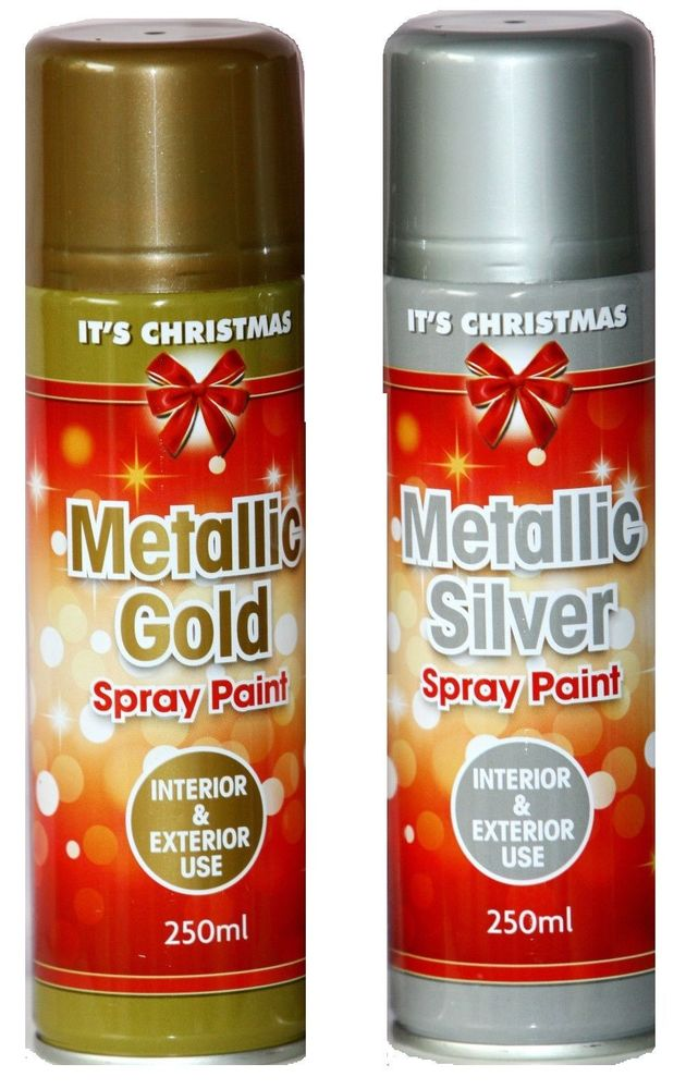 Spray Paint Metallic Gold Silver Can Interior Exterior Craft Xmas