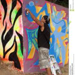 Spray Painting Wall Editorial