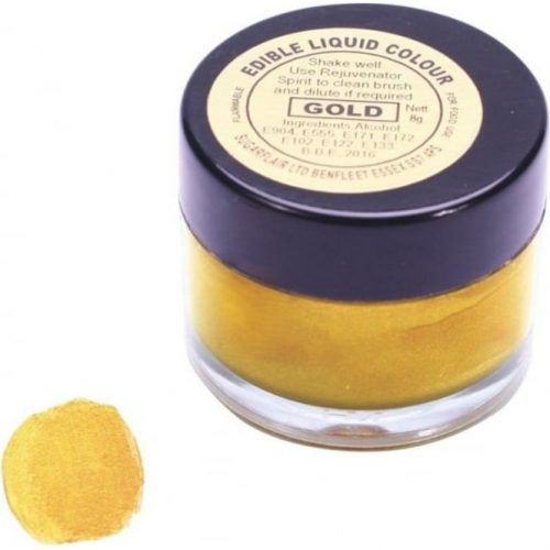 Sugarflair Gold Edible Metallic Liquid Icing Colouring Paint Cake