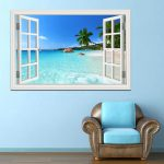 Summer Beach Coconut Tree Wall Sticker Seaside Landscape Removable