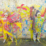 Time Lapse Two Street Artists Creating Colorful Abstract Mural Splashing Acrylic