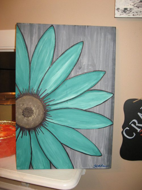 Turquoise Flower Daisy Painting Rustic Wood Wall Art South