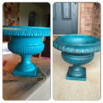 Turquoise Planter Painted Old Metal Waverly Chalk Paint Peacock