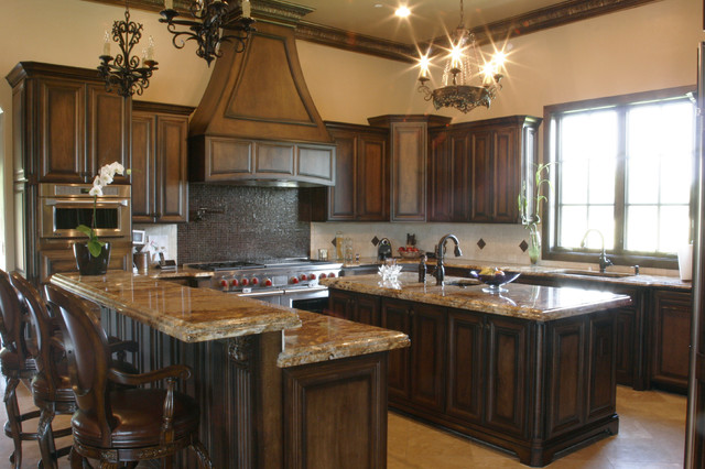 Two Tones Style Kitchen Colors Dark Wood Cabinets