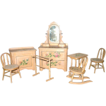 Victorian Piece Painted Cottage Doll Bedroom Furniture Set Americana Whimsy Ruby