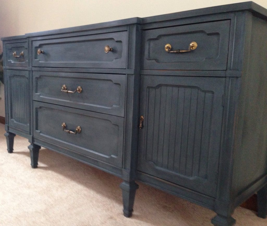 Vintage Buffet Entertainment Center Dresser Dark