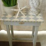 Vintage Hand Painted Harlequin Accent Side Table