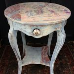 Vintage Painted Bohemian Side Table Asian Style Rustic