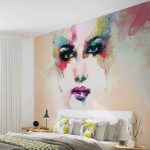 Wall Mural Xxl Art Colorful Woman Face Painting