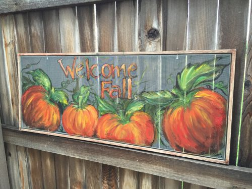Welcome Fall Old Window Screen Hand Paintingfall Decor