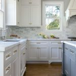 White Kitchen Stacked Cabinets Grey Island Home Bunch Interior Design