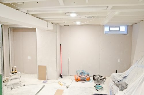 White Painted Ceilings Drywall Basement Golden